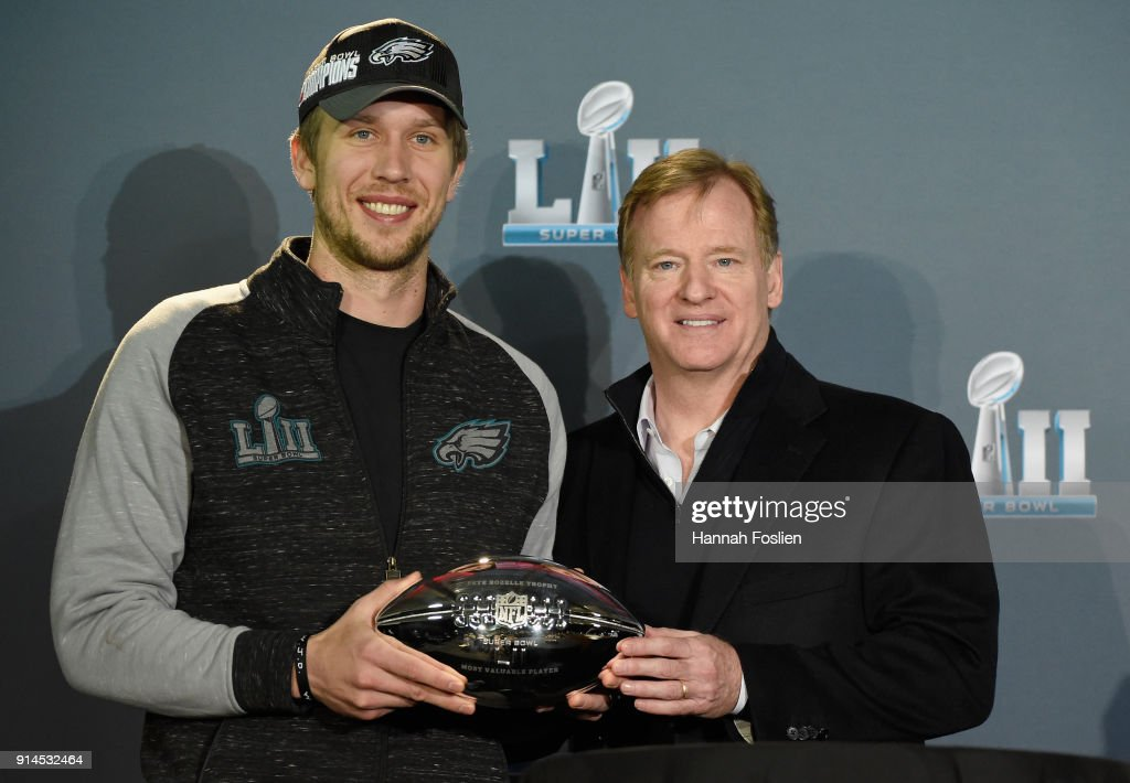 NFL Commissioner Roger Goodell poses for a photo with Nick Foles #9 of the Philadelphia Eagles after handing him the Pete Rozelle Trophy as Super Bowl LII MVP during Super Bowl LII media availability on February 5, 2018 at Mall of America in Bloomington, Minnesota. The Philadelphia Eagles defeated the New England Patriots in Super Bowl LII 41-33 on February 4th.