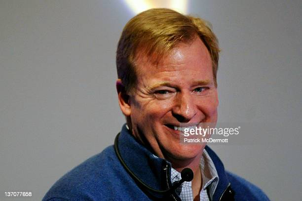 Commissioner Roger Goodell smiles while speaking to fans during a QA prior to the AFC Divisional playoff game between the Houston Texans and the...