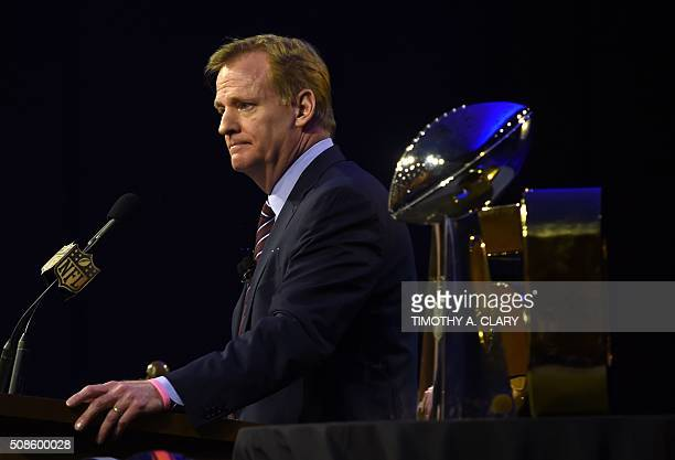 NFL Commissioner Roger Goodell speaks at the Super Bowl 50 press conference February 5 2016 at the Moscone Convention Center in San Francisco...