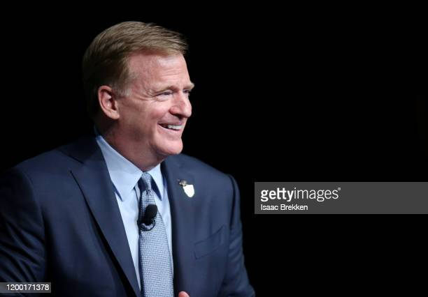 Commissioner Roger Goodell speaks during a fireside chat at the Preview Las Vegas business forecasting event at Wynn Las Vegas on January 17 2020 in...