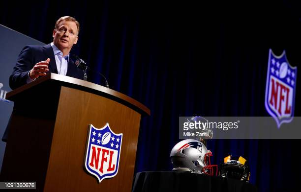 Commissioner Roger Goodell speaks during a press conference during Super Bowl LIII Week at the NFL Media Center inside the Georgia World Congress...