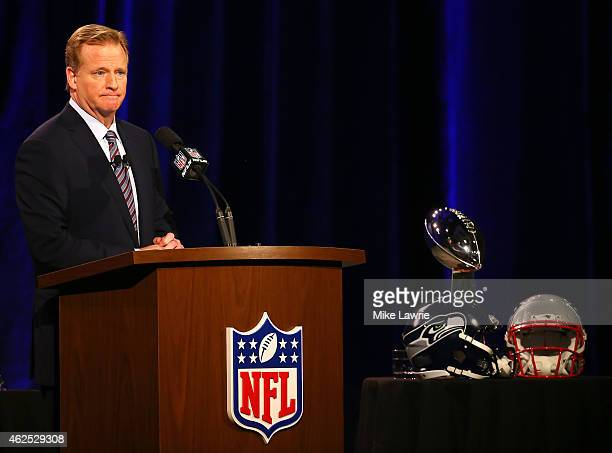 Commissioner Roger Goodell speaks during a press conference prior to the upcoming Super Bowl XLIX at Phoenix Convention Center on January 30 2015 in...