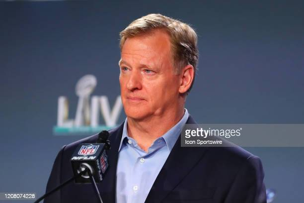 Commissioner Roger Goodell speaks during the Commissioners press conference on January 29, 2020 at the Hilton Downtown in Miami, FL.