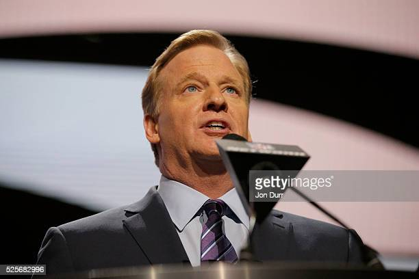 Commissioner Roger Goodell speaks during the first round of the 2016 NFL Draft at the Auditorium Theatre of Roosevelt University on April 28 2016 in...