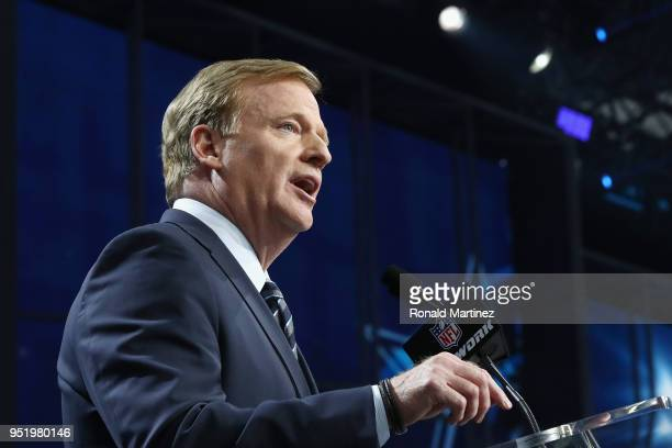 Commissioner Roger Goodell speaks during the first round of the 2018 NFL Draft at ATT Stadium on April 26 2018 in Arlington Texas