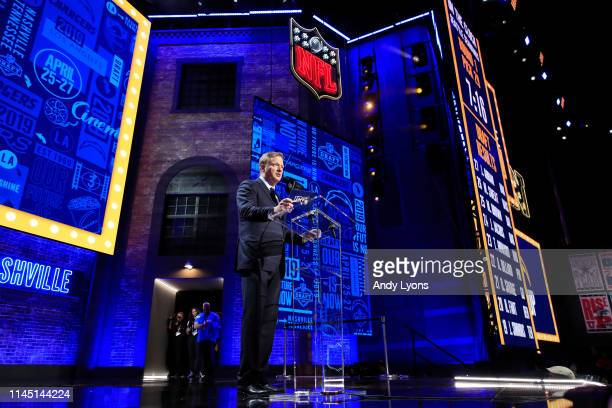 Commissioner Roger Goodell speaks during the first round of the 2019 NFL Draft on April 25 2019 in Nashville Tennessee