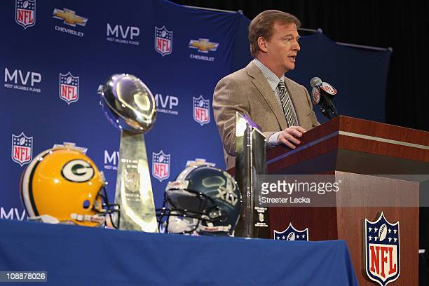 Commissioner Roger Goodell speaks to the media during a press conference at Super Bowl XLV Media Center on February 7 2011 in Dallas Texas