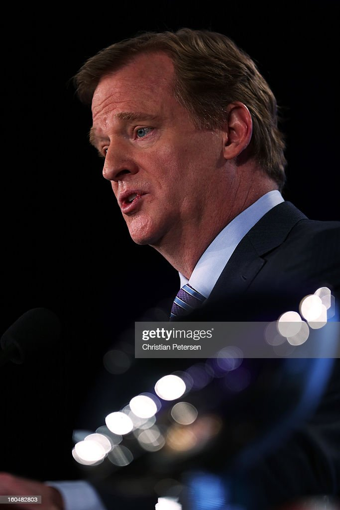 Commissioner Roger Goodell speaks to the media during a press conference for Super Bowl XLVII at the Ernest N. Morial Convention Center on February 1, 2013 in New Orleans, Louisiana.