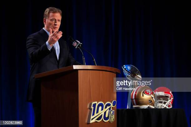 Commissioner Roger Goodell speaks to the media during a press conference prior to Super Bowl LIV at the Hilton Miami Downtown on January 29 2020 in...