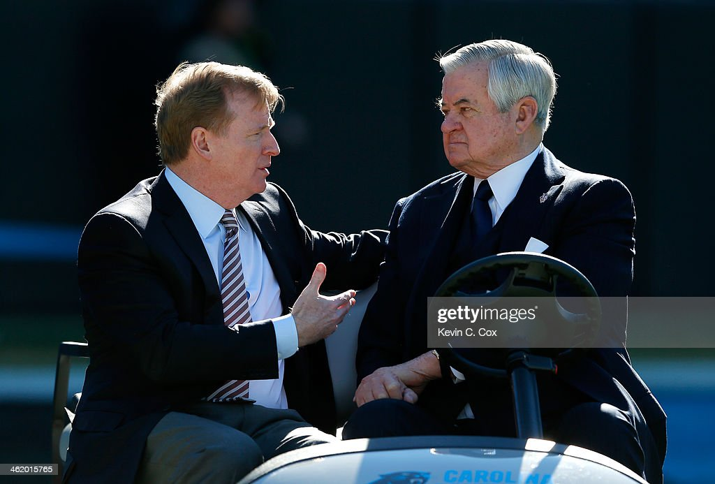 NFL commissioner Roger Goodell speaks with Carolina Panthers owner Jerry Richardson prior to the NFC Divisional Playoff Game against the San Francisco 49ers at Bank of America Stadium on January 12, 2014 in Charlotte, North Carolina.