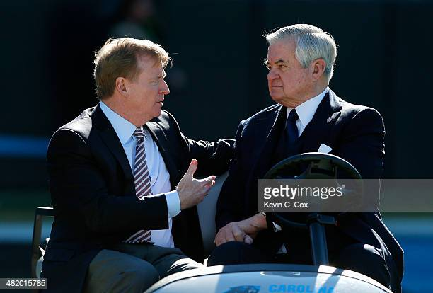 NFL commissioner Roger Goodell speaks with Carolina Panthers owner Jerry Richardson prior to the NFC Divisional Playoff Game against the San...