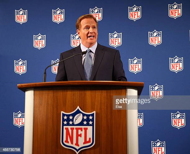 Commissioner Roger Goodell talks during a press conference at the Hilton Hotel on September 19 2014 in New York City Goodell spoke about the NFL's...