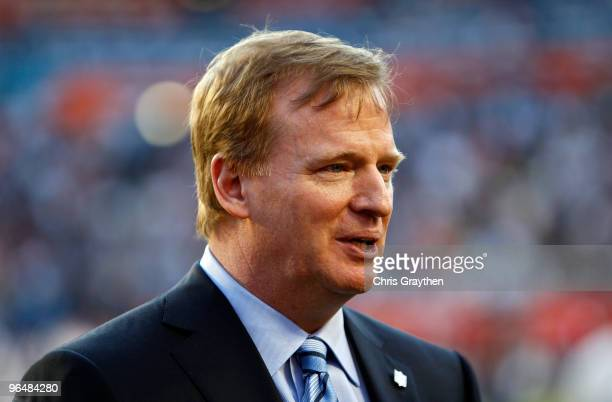 Commissioner Roger Goodell watches teams warm up prior to the start of Super Bowl XLIV between the Indianapolis Colts and the New Orleans Saints on...