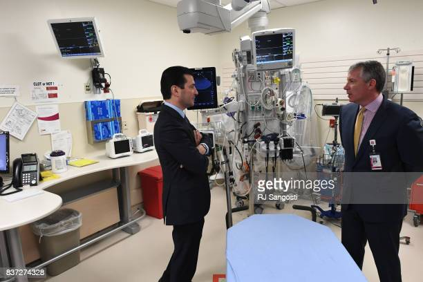 Commissioner Scott Gottlieb talks with Richard Zane MD during a tour University of Colorado Hospital's emergency department on August 22 2017 in...