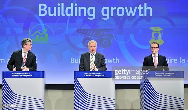 EU commissioner Taxation and Customs Union Audit and AntiFraud Algirdas Semeta EU commissioner for Economic and Monetary Affairs Olli Rehn and EU...