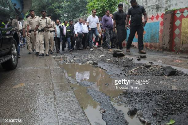 TMC commissioner Thane Sanjeev Jaiswal visits to inspect the bad condition of roads on July 17 2018 in Mumbai India