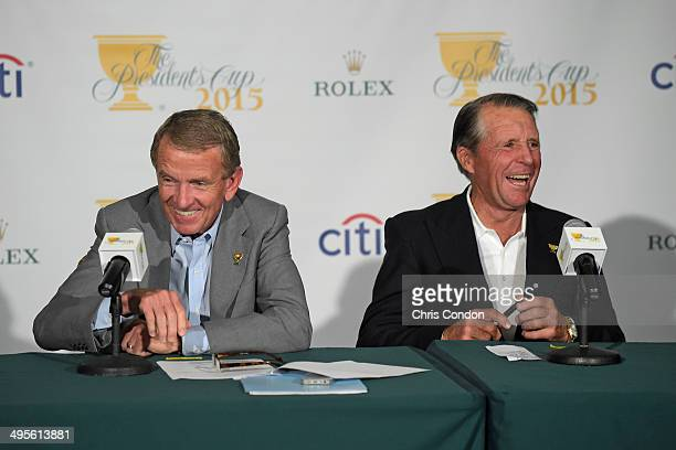 Commissioner Tim Finchem and Gary Player of South Africa laugh during a press conference announcing Nick Price as Captain of the 2015 Presidents Cup...