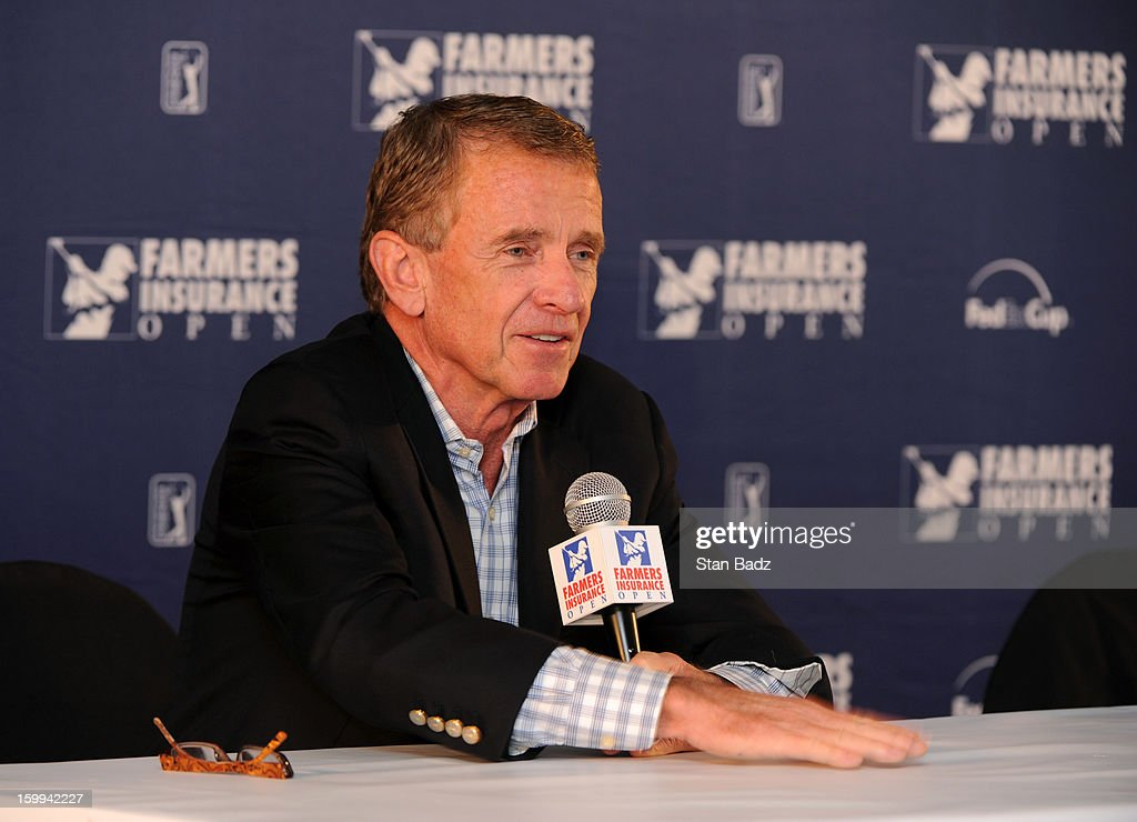 Commissioner Tim Finchem speaks to the media at the Farmers Insurance Open at Torrey Pines Golf Course on January 23, 2013 in La Jolla, California.