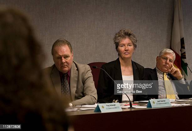Commissioners from left Jack Garner Sandra Bryson and Michael Prizmich listen to testomy in favor of the compassionate release of Susan Atkins...