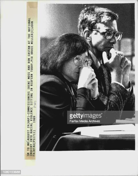 Commissioners Irene Moss and Ron Castan at the national inquiry into racial violence sitting in Redfern today August 24 1989