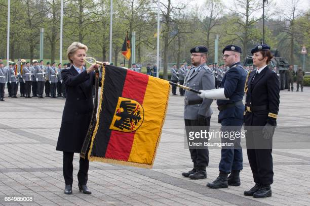Commissioning Command Cyber and Information Room of the Federal Army Secretary of Defense Ursula von der Leyen when attaching the CIR flagband to the...