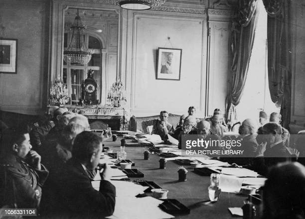 Commitee meeting at Trianon to discuss the conditions of the Armistice Versailles, France, World War I, 20th century.