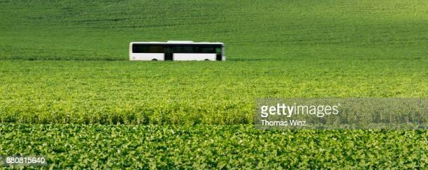 commiter bus driving through agricultural field - pullman autobus foto e immagini stock