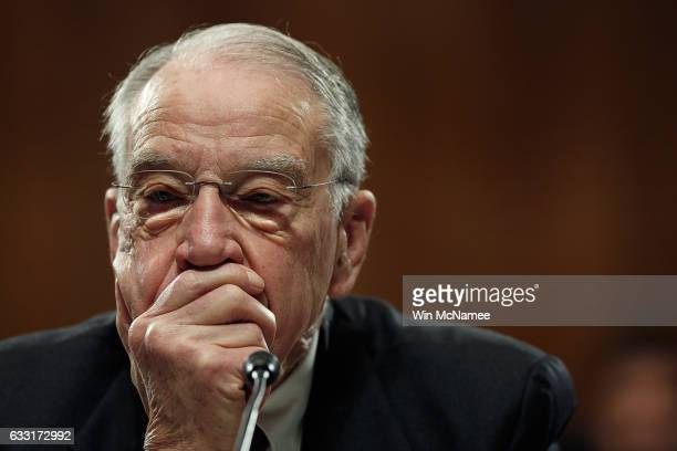 Committe Chairman Sen. Chuck Grassley listens to remarks from Democratic senators during the Senate Judiciary Committee's 'markup' on the nomination...