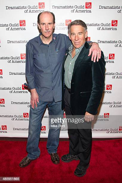 Committee Chair Craig Carnelia and Stephen Schwartz attend the 2014 AntiPiracy Awareness event at The Dramatists Guild of America on April 21 2014 in...