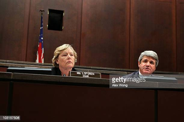 Committee chair Rep Zoe Lofgren listens as Rep Michael McCaul speaks during a hearing regarding the alleged ethics breaches by Rep Charles Rangel...