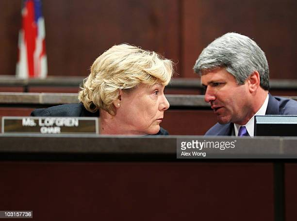 Committee chair Rep Zoe Lofgren listens to Rep Michael McCaul during a hearing regarding the alleged ethics breaches by Rep Charles Rangel before the...