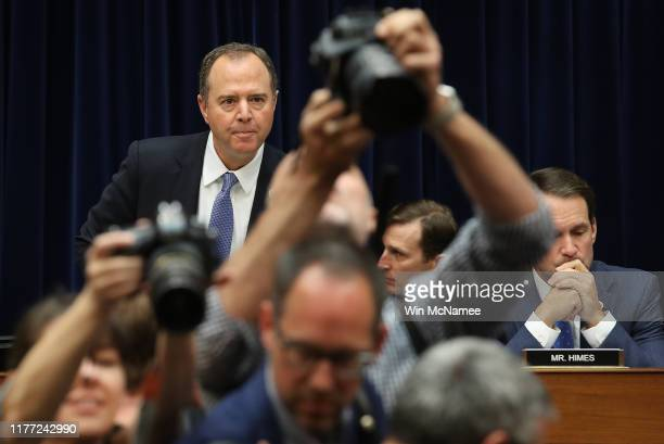 Committee chairman Adam Schiff arrives at a hearing featuring Acting Director of National Intelligence Joseph Maguire testifying before the House...