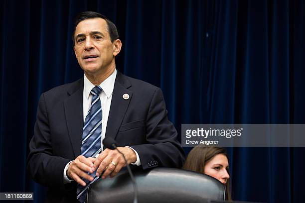 Committee Chairman Darrell Issa arrives for a House Oversight Committee hearing entitled 'Reviews of the Benghazi Attack and Unanswered Questions' in...
