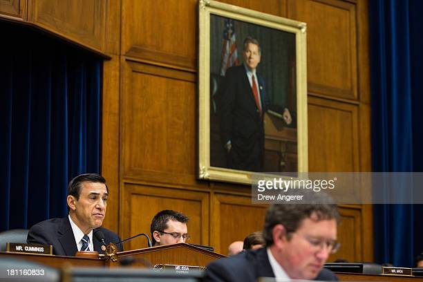 Committee Chairman Darrell Issa delivers his opening statements at the start of a House Oversight Committee hearing entitled 'Reviews of the Benghazi...