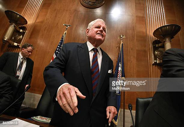 Committee Chairman Edward Kennedy greets people at the start of a Senate Confirmation hearing for former Senate Majority LeaderTom Daschle before the...