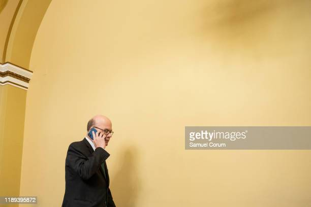 Committee Chairman Jim McGovern walks through the House Rules Committee hearing room during a break on December 17, 2019 in Washington, DC. The Rules...