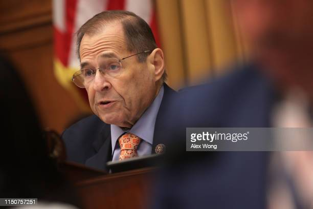 Committee chairman of US House Judiciary Committee Rep Jerry Nadler speaks during a hearing in which former White House Counsel Don McGahn was...