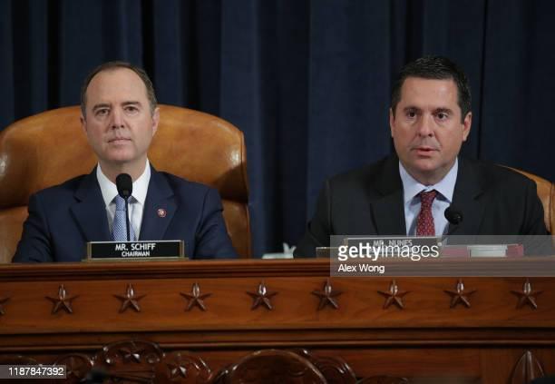 Committee Chairman Rep. Adam Schiff amd ranking member Devin Nunes listen to testimony from former U.S. Ambassador to Ukraine Marie Yovanovitch's...