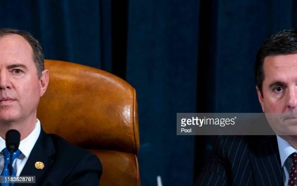 Committee Chairman Rep Adam Schiff and ranking member Rep Devin Nunes listen to testimony by Gordon Sondland the US ambassador to the European Union...