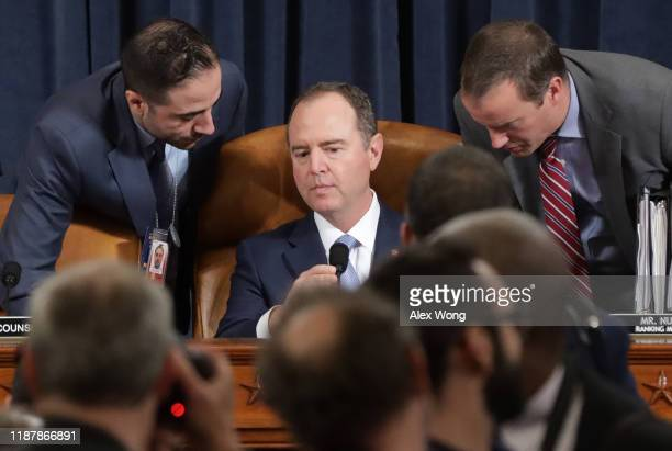Committee chairman Rep Adam Schiff confers with staff during testimony from former US Ambassador to Ukraine Marie Yovanovitch before the House...