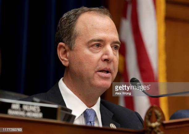 Committee chairman Rep Adam Schiff delivers opening remarks at a hearing featuring Acting Director of National Intelligence Joseph Maguire testifying...