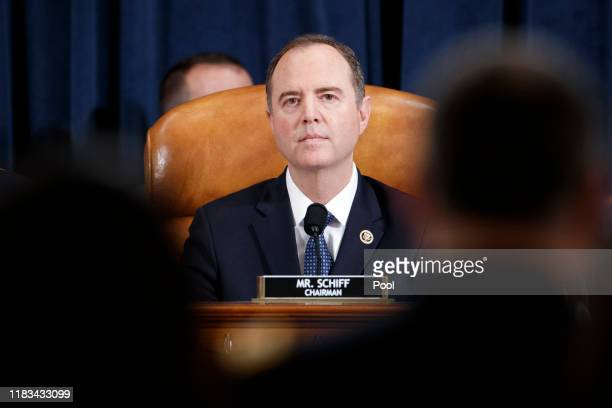Committee Chairman Rep Adam Schiff listens at the start of a hearing before the House Intelligence Committee in the Longworth House Office Building...