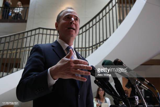 Committee Chairman Rep Adam Schiff speaks to members of the media after Intelligence Community Inspector General Michael Atkinson met behind closed...