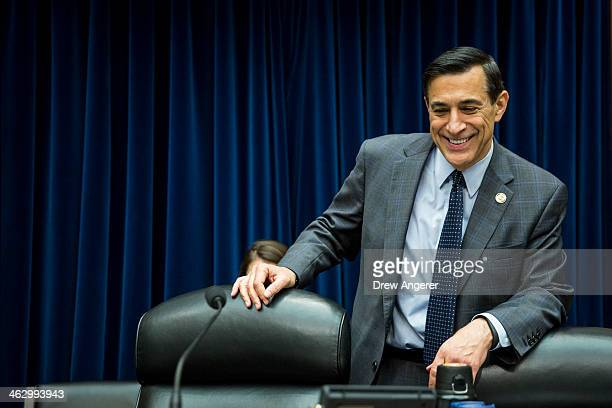 Committee Chairman Rep Darrell Issa prepares to take his seat at the start of a House Oversight Committee hearing concerning the security of the...
