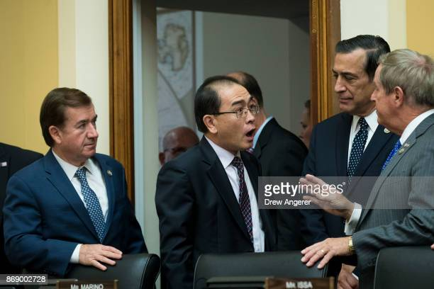 Committee chairman Rep Ed Royce looks on as Thae Yongho former chief of mission at the North Korean embassy in the United Kingdom is greeted by Rep...