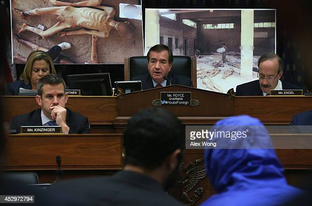 Committee Chairman Rep Ed Royce speaks as Syrian Army defector 'Caesar' who has smuggled out of Syria more than 50000 photographs that document the...