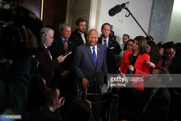 Committee chairman Rep Elijah Cummings speaks to members of the media after Michael Cohen former attorney and fixer for President Donald Trump...