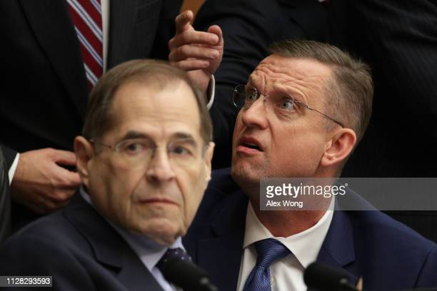 Committee chairman Rep Jerrold Nadler argues with ranking member Rep Doug Collins during a hearing before the House Judiciary Committee in the...