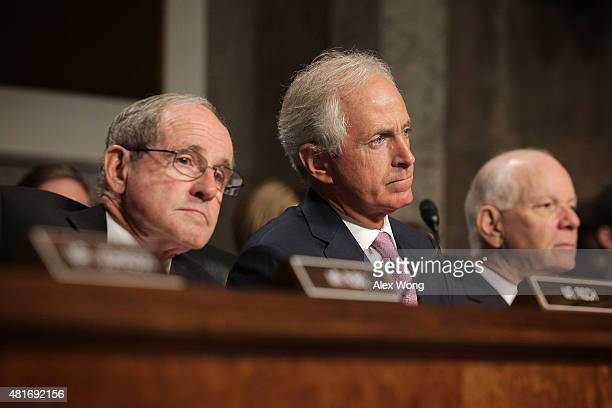 Committee chairman Sen Bob Corker ranking member Sen Ben Cardin and Sen James Risch listen during a hearing before the Senate Foreign Relations...