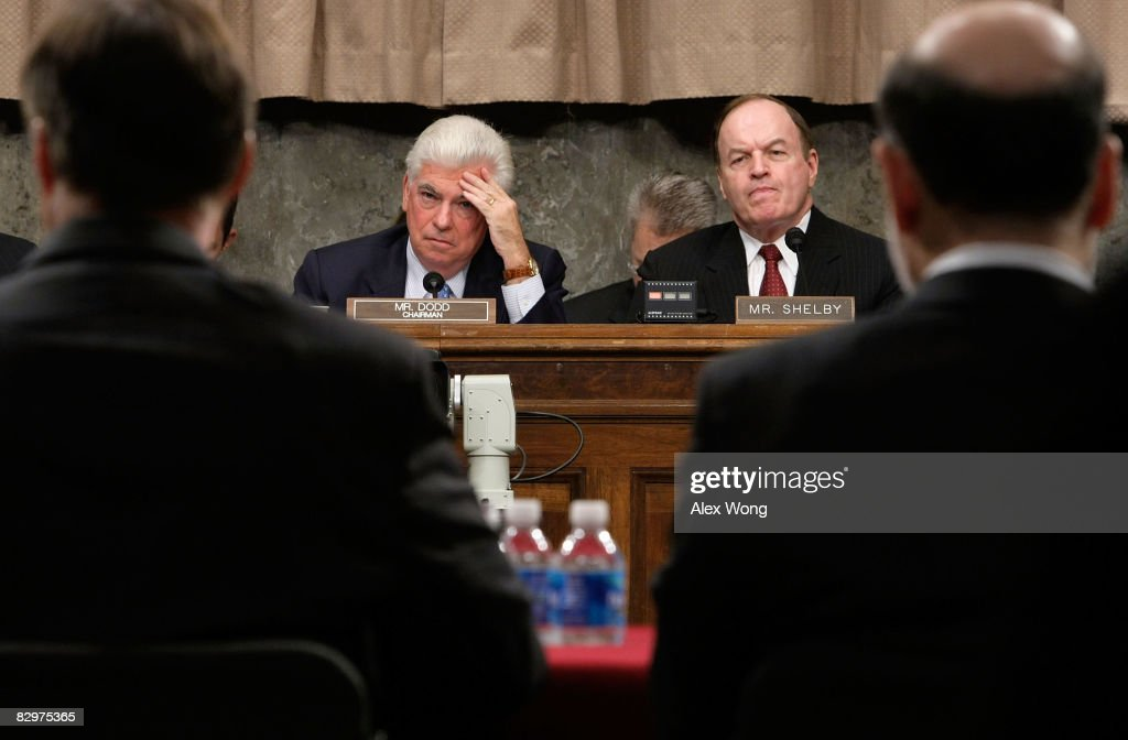Committee Chairman Sen. Christopher Dodd (D-CT) (2nd L) and ranking member Sen. Richard Shelby (R-AL) (3rd L) listen as Federal Reserve Board Chairman Ben Bernanke (R) and Chairman of the Securities and Exchange Commission Christopher Cox (L) testify during a hearing before the Senate Banking, Housing and Urban Affairs Committee September 23, 2008 on Capitol Hill in Washington, DC. The Bush administration officials were testifying about a proposed $700 billion bailout that they hope will stabilize the faltering U.S. financial system. Many members of Congress have expressed anger at the plan they say will pay for Wall Street's mistakes at taxpayers' expense.